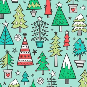 Christmas Trees Doodle Forest Woodland Red on Mint