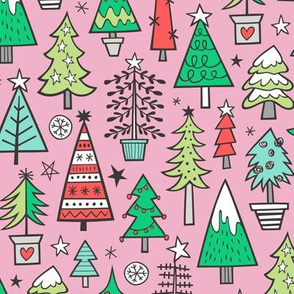 Christmas Trees Doodle Forest Woodland Red on Pink