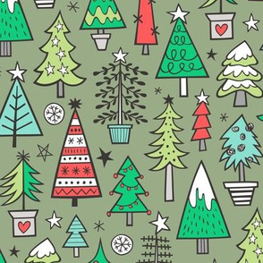 Christmas Trees Doodle Forest Woodland Red on Green