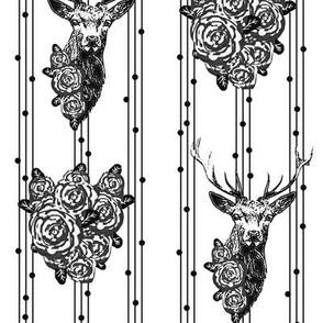 Buck & Buds Boho Deer Stripe / Black & White