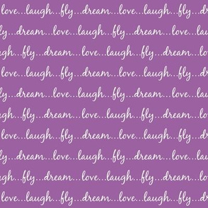 Dream... Love... Laugh... Fly... (on purple) - Best Friend 2 Coordinate for Girls GingerLous