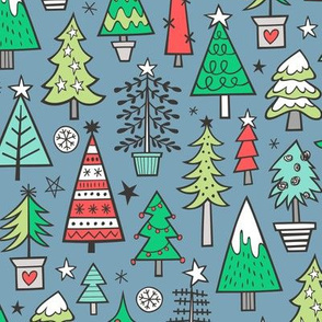 Christmas Trees Doodle Forest Woodland Red on Dark Blue