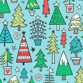 Christmas Trees Doodle Forest Woodland Red on Blue