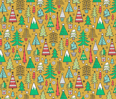 Christmas Trees Doodle Forest Woodland Red on Mustard Yellow fabric by caja_design on Spoonflower - custom fabric