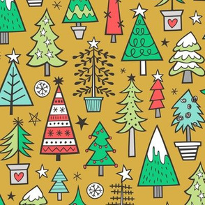 Christmas Trees Doodle Forest Woodland Red on Mustard Yellow