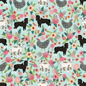 Goat, Pony and Chicken fabric