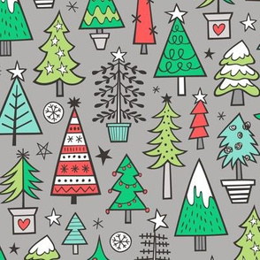 Christmas Trees Doodle Forest Woodland Red on Grey