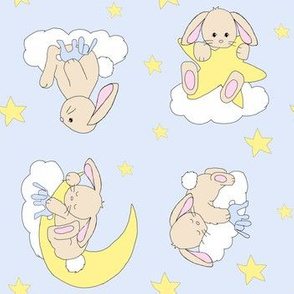 Bunny Moon Star Cloud Nursery Neutral