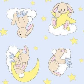 Bunny Moon Star Cloud Nursery Neutral