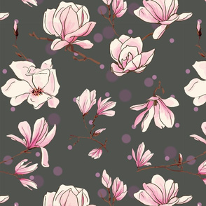 magnolias on grey with dots
