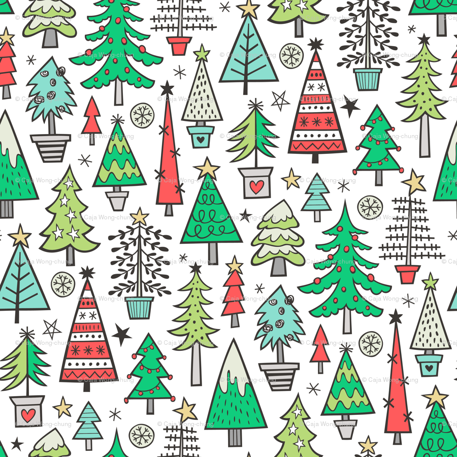 Christmas Trees Doodle Forest Woodland Red on White fabric ...