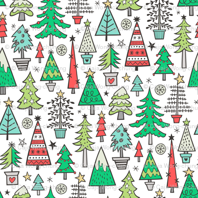 Christmas Trees Doodle Forest Woodland Red on White