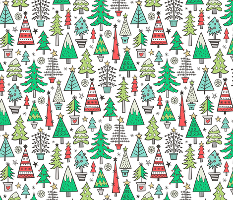 Christmas Trees Doodle Forest Woodland Red on White fabric by caja_design on Spoonflower - custom fabric
