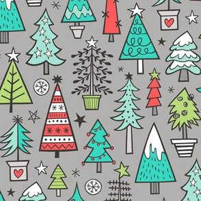 Christmas Trees Doodle Forest Woodland Mint Green on Grey