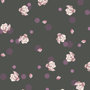 small magnolias on grey dots