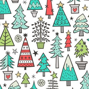 Christmas Trees Doodle Forest Woodland Mint Green on White
