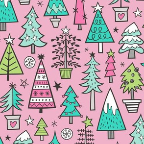 Christmas Trees Doodle Forest Woodland Mint Green on Pink