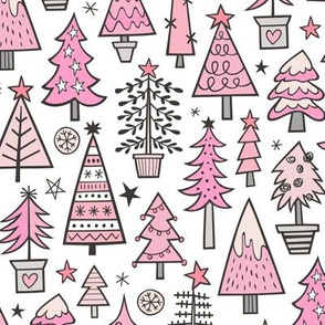Christmas Trees Doodle Forest Woodland Pink on White