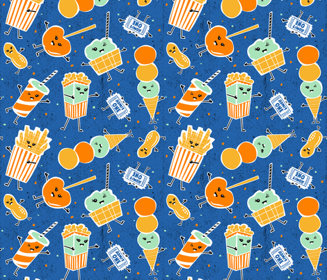 Snack Bar - Blue fabric by heatherdutton on Spoonflower - custom fabric