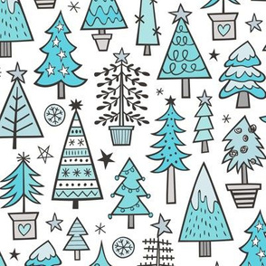 Christmas Trees Doodle Forest Woodland Blue on white