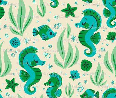 Seashells & Seahorses (Blue)