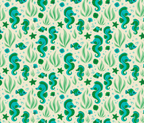 Seashells & Seahorses (Blue) fabric by therewillbecute on Spoonflower - custom fabric