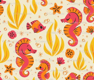 Seashells & Seahorses (Orange)