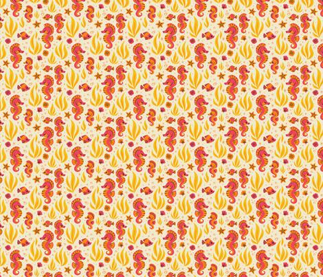 Seashells & Seahorses (Orange) fabric by therewillbecute on Spoonflower - custom fabric