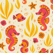 Seashells & Seahorses (Orange)