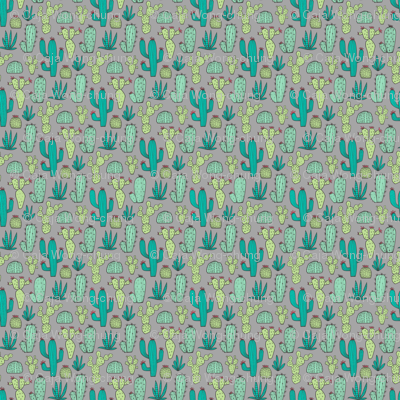 Cactus on Dark Grey Tiny Small