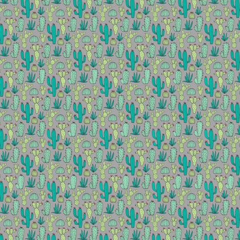 Cactus on Dark Grey Tiny Small fabric by caja_design on Spoonflower - custom fabric
