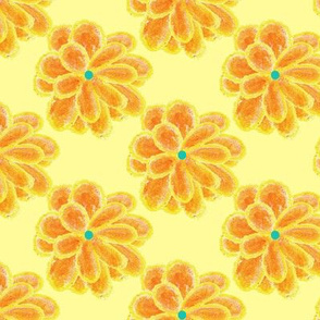 Crayon Flowers on Yellow