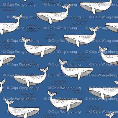 Whales on Navy Blue