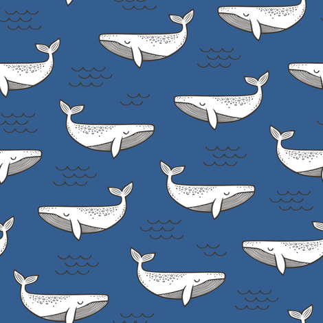 Whales on Navy Blue fabric by caja_design on Spoonflower - custom fabric