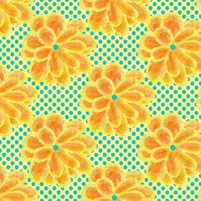 Yellow Crayon Flowers on Turquoise Dots