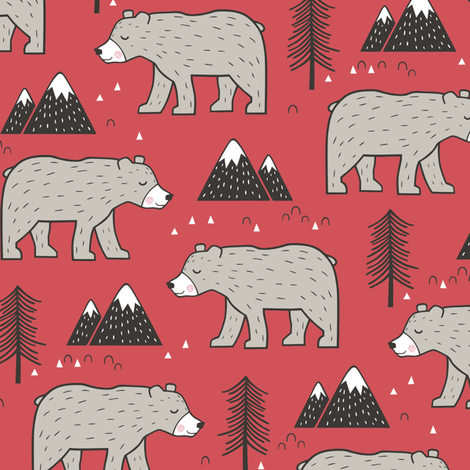 Mountain Bear  Woodland on Red fabric by caja_design on Spoonflower - custom fabric