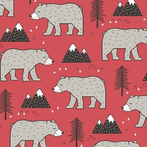 Mountain Bear  Woodland on Red