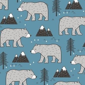 Mountain Bear  Woodland on Dark Blue