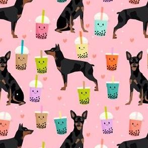 min pin bubble tea fabric cute boba miniature pinscher design - pink