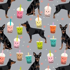 min pin bubble tea fabric cute boba miniature pinscher design - grey