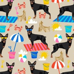 min pin sandcastles fabric beach summer fabric miniature pinscher design - sand