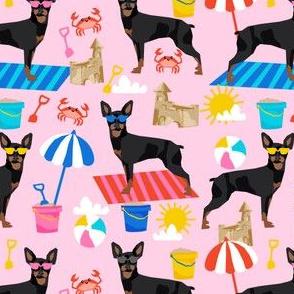 min pin sandcastles fabric beach summer fabric miniature pinscher design - pink