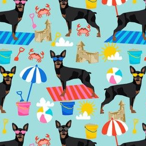 min pin sandcastles fabric beach summer fabric miniature pinscher design - light blue