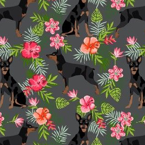 min pin hawaiian fabric tropical palm print design miniature pinscher dog fabric - charcoal