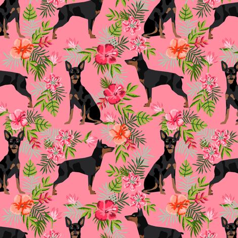 min pin hawaiian fabric tropical palm print design miniature pinscher dog fabric - pink fabric by petfriendly on Spoonflower - custom fabric