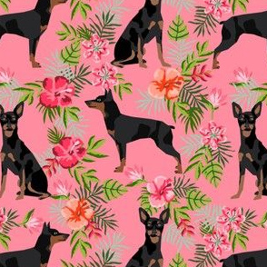 min pin hawaiian fabric tropical palm print design miniature pinscher dog fabric - pink