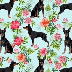 min pin hawaiian fabric tropical palm print design miniature pinscher dog fabric - light blue