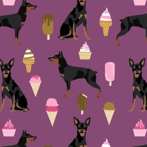min pin fabric miniature pinscher dog ice cream design - amethyst