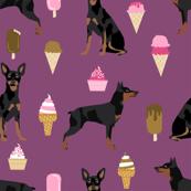 min pin fabric miniature pinscher dog ice cream design - amethyst