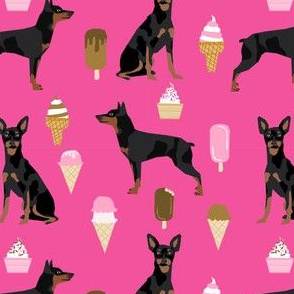 min pin fabric miniature pinscher dog ice cream design - bright pink